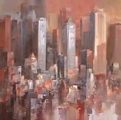 City Shadows II by Wilfred -  sized 38x38 inches. Available from Whitewall Galleries